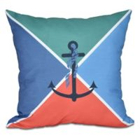 Anchor Flag Square Throw Pillow in Green