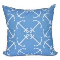 Anchor's Up Geometric Print Square Throw Pillow in Midnight Blue