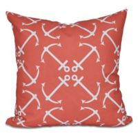 Anchor's Up Geometric Print Square Throw Pillow in Orange