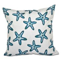 E by Design Soft Starfish Geometric Throw Pillow in Teal