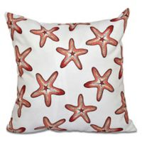 E by Design Soft Starfish Geometric Throw Pillow in Coral