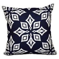 Beach Star Geometric Print Square Throw Pillow in Navy