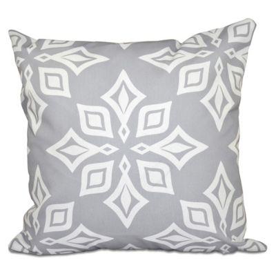 beach star geometric print square throw pillow in light grey