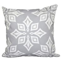 Beach Star Geometric Print Square Throw Pillow in Light Grey