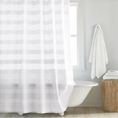 Bon DKNY Highline 54 Inch X 78 Inch Stripe Stall Shower Curtain In White