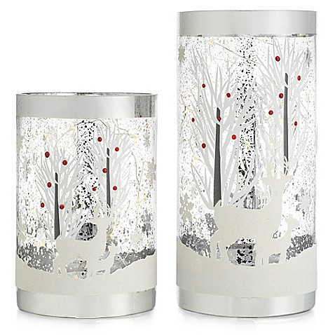Beyond Reindeer Glass Candleholders With Led String Lights