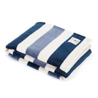 Nautica® Awning Stripe Ultra Soft Plush Throw Blanket in Blue