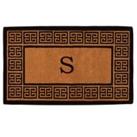 """Home & More Grecian Monogrammed """"S"""" 18-Inch x 30-Inch Thick Door Mat in Natural"""