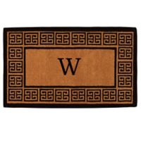 """Home & More Grecian Monogrammed """"W"""" 18-Inch x 30-Inch Thick Door Mat in Natural"""