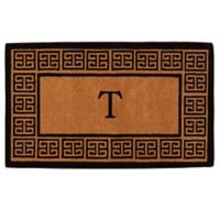 "Home & More Grecian Monogrammed ""T"" 18-Inch x 30-Inch Thick Door Mat in Natural"