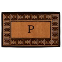 """Home & More Grecian Monogrammed """"P"""" 18-Inch x 30-Inch Thick Door Mat in Natural"""