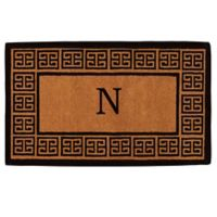 """Home & More Grecian Monogrammed """"N"""" 18-Inch x 30-Inch Thick Door Mat in Natural"""