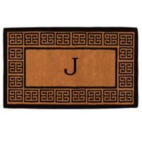 "Home & More Grecian Monogrammed ""J"" 18-Inch x 30-Inch Thick Door Mat in Natural"