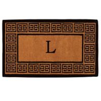 "Home & More Grecian Monogrammed ""L"" 18-Inch x 30-Inch Thick Door Mat in Natural"