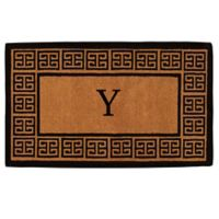 """Home & More Grecian Monogrammed """"Y"""" 36-Inch x 72-Inch Thick Door Mat in Natural"""