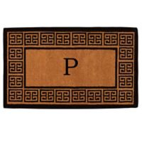 """Home & More Grecian Monogrammed """"P"""" 36-Inch x 72-Inch Thick Door Mat in Natural"""