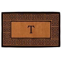 """Home & More Grecian Monogrammed """"T"""" 36-Inch x 72-Inch Thick Door Mat in Natural"""