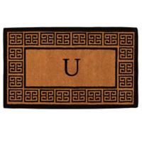 """Home & More Grecian Monogrammed """"U"""" 36-Inch x 72-Inch Thick Door Mat in Natural"""