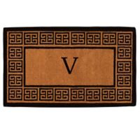 """Home & More Grecian Monogrammed """"V"""" 36-Inch x 72-Inch Thick Door Mat in Natural"""