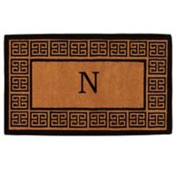 """Home & More Grecian Monogrammed """"N"""" 36-Inch x 72-Inch Thick Door Mat in Natural"""