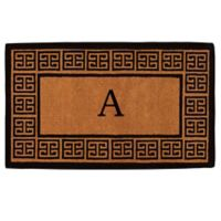 """Home & More Grecian Monogrammed """"A"""" 36-Inch x 72-Inch Thick Door Mat in Natural"""