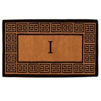 """Home & More Grecian Monogrammed """"I"""" 36-Inch x 72-Inch Thick Door Mat in Natural"""
