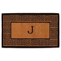 """Home & More Grecian Monogrammed """"J"""" 36-Inch x 72-Inch Thick Door Mat in Natural"""