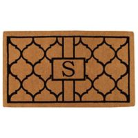 """Home & More Pantera Monogrammed """"S"""" 24-Inch x 36-Inch Thick Door Mat in Natural/Black"""