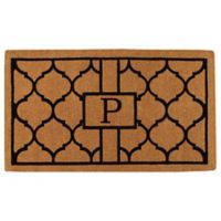 """Home & More Pantera Monogrammed """"P"""" 24-Inch x 36-Inch Thick Door Mat in Natural/Black"""