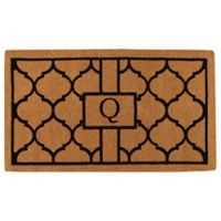 """Home & More Pantera Monogrammed """"Q"""" 24-Inch x 36-Inch Thick Door Mat in Natural/Black"""