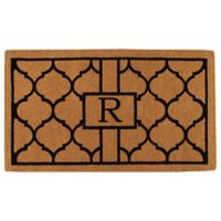 """Home & More Pantera Monogrammed """"R"""" 24-Inch x 36-Inch Thick Door Mat in Natural/Black"""