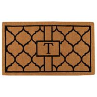 """Home & More Pantera Monogrammed """"T"""" 24-Inch x 36-Inch Thick Door Mat in Natural/Black"""