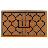 """Home & More Pantera Monogrammed """"U"""" 24-Inch x 36-Inch Thick Door Mat in Natural/Black"""