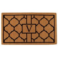 """Home & More Pantera Monogrammed """"V"""" 24-Inch x 36-Inch Thick Door Mat in Natural/Black"""