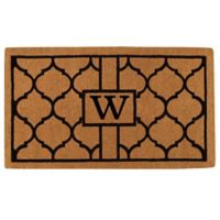 """Home & More Pantera Monogrammed """"W"""" 24-Inch x 36-Inch Thick Door Mat in Natural/Black"""