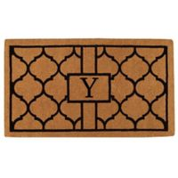"""Home & More Pantera Monogrammed """"Y"""" 24-Inch x 36-Inch Thick Door Mat in Natural/Black"""
