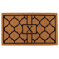 """Home & More Pantera Monogrammed """"X"""" 24-Inch x 36-Inch Thick Door Mat in Natural/Black"""