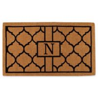 """Home & More Pantera Monogrammed """"N"""" 24-Inch x 36-Inch Thick Door Mat in Natural/Black"""