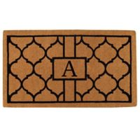 """Home & More Pantera Monogrammed """"A"""" 24-Inch x 36-Inch Thick Door Mat in Natural/Black"""