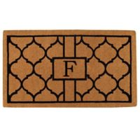 """Home & More Pantera Monogrammed """"F"""" 24-Inch x 36-Inch Thick Door Mat in Natural/Black"""