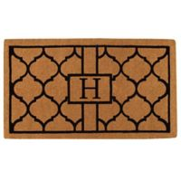 """Home & More Pantera Monogrammed """"H"""" 24-Inch x 36-Inch Thick Door Mat in Natural/Black"""