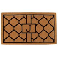 """Home & More Pantera Monogrammed """"J"""" 24-Inch x 36-Inch Thick Door Mat in Natural/Black"""