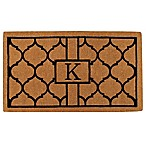 "Home & More Pantera Monogrammed ""K"" 24-Inch x 36-Inch Thick Door Mat in Natural/Black"