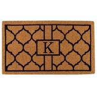 """Home & More Pantera Monogrammed """"K"""" 24-Inch x 36-Inch Thick Door Mat in Natural/Black"""