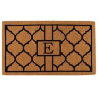 """Home & More Pantera Monogrammed """"E"""" 18-Inch x 30-Inch Thick Door Mat in Natural/Black"""