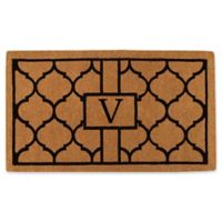 """Home & More Pantera Monogrammed """"V"""" 18-Inch x 30-Inch Thick Door Mat in Natural/Black"""