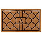 "Home & More Pantera Monogrammed ""A"" 18-Inch x 30-Inch Thick Door Mat in Natural/Black"