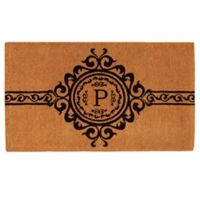"Home & More Garbo Monogrammed ""P"" 18-Inch x 30-Inch Thick Door Mat in Natural/Black"