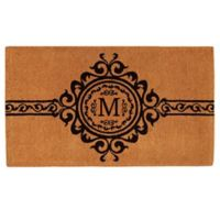 """Home & More Garbo Monogrammed """"M"""" 18-Inch x 30-Inch Thick Door Mat in Natural/Black"""