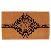 """Home & More Garbo Monogrammed """"N"""" 18-Inch x 30-Inch Thick Door Mat in Natural/Black"""